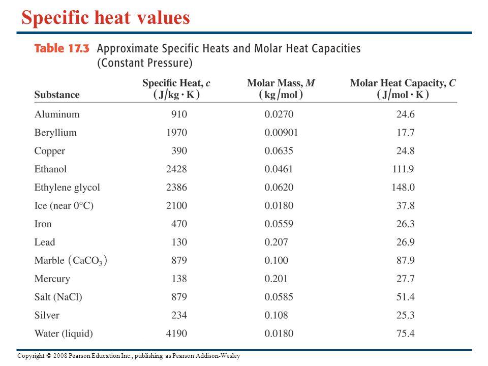 Specific Heat Chart Chemistry Specific heat