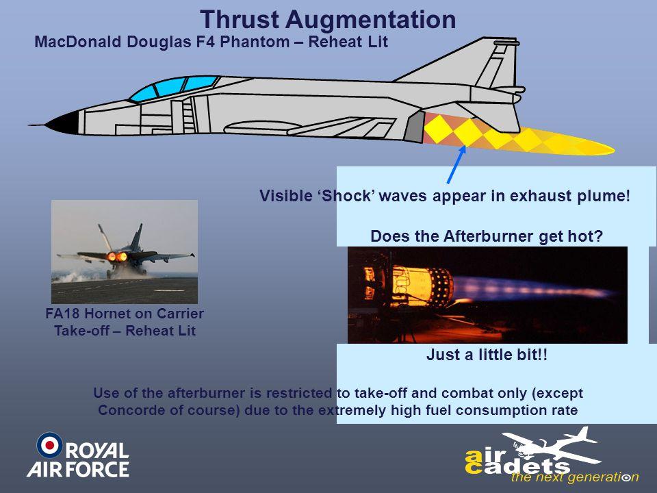 Thrust Augmentation Just a little bit!! MacDonald Douglas F4 Phantom – Reheat Lit Visible 'Shock' waves appear in exhaust plume! FA18 Hornet on Carrie