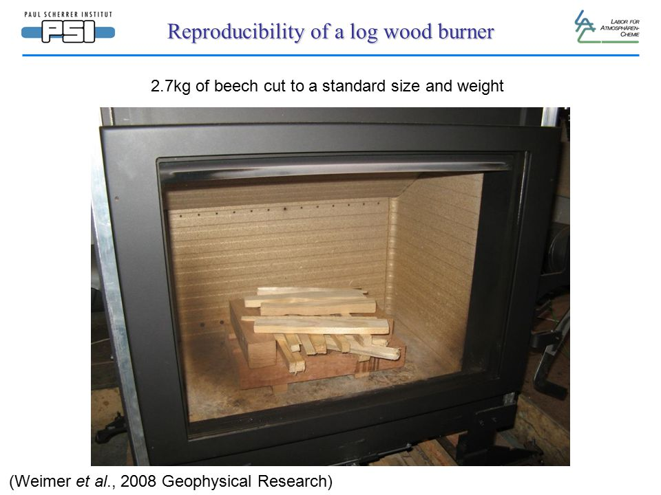 Reproducibility of a log wood burner 2.7kg of beech cut to a standard size and weight (Weimer et al., 2008 Geophysical Research)