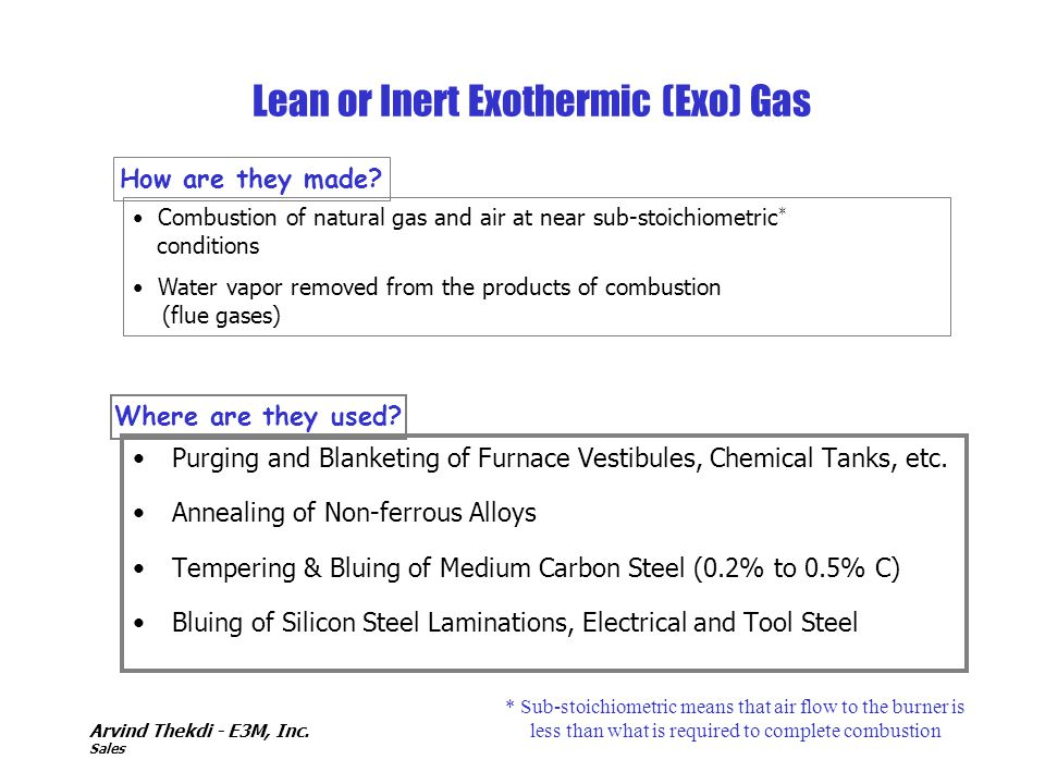 Arvind Thekdi - E3M, Inc. Sales Lean or Inert Exothermic (Exo) Gas Purging and Blanketing of Furnace Vestibules, Chemical Tanks, etc. Annealing of Non