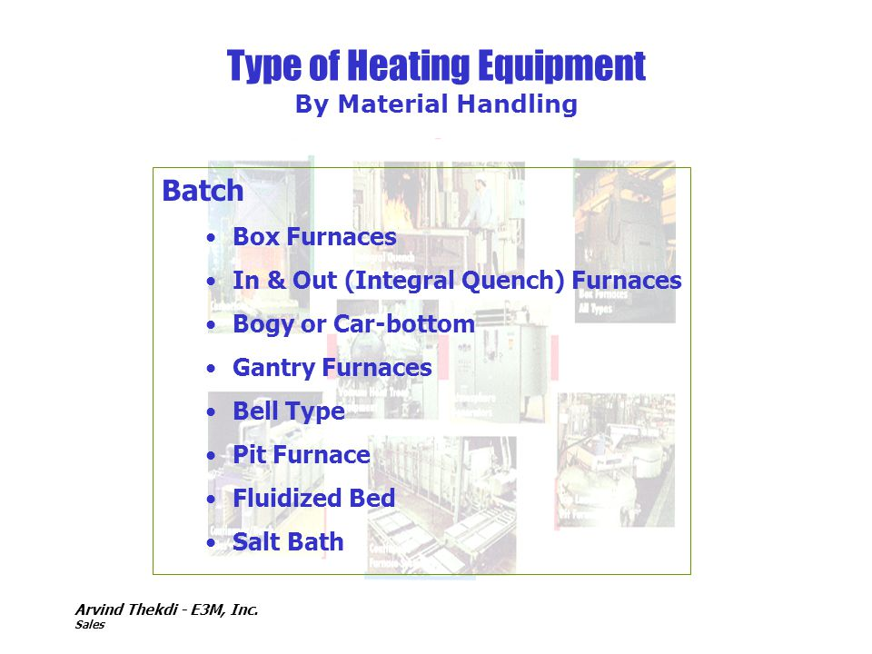 Arvind Thekdi - E3M, Inc. Sales Type of Heating Equipment By Material Handling Batch Box Furnaces In & Out (Integral Quench) Furnaces Bogy or Car-bott