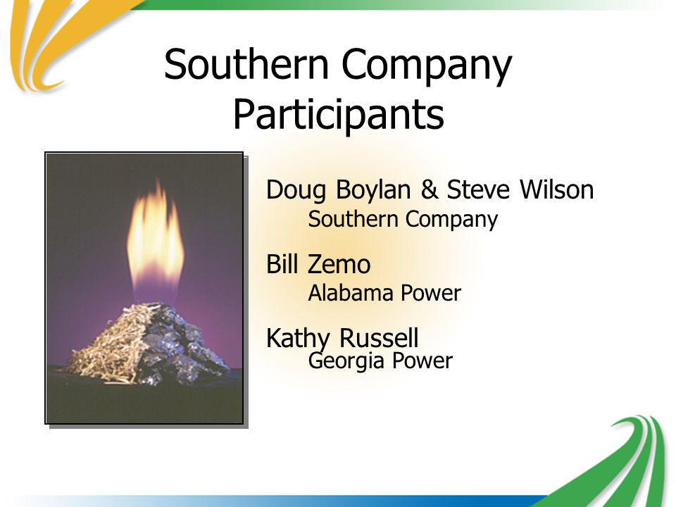 Doug Boylan & Steve Wilson Southern Company Bill Zemo Alabama Power Kathy Russell Georgia Power Southern Company Participants