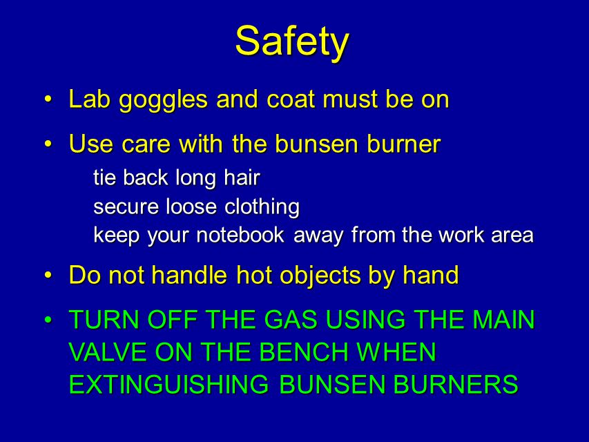 Safety Lab goggles and coat must be onLab goggles and coat must be on Use care with the bunsen burner tie back long hair secure loose clothing keep yo
