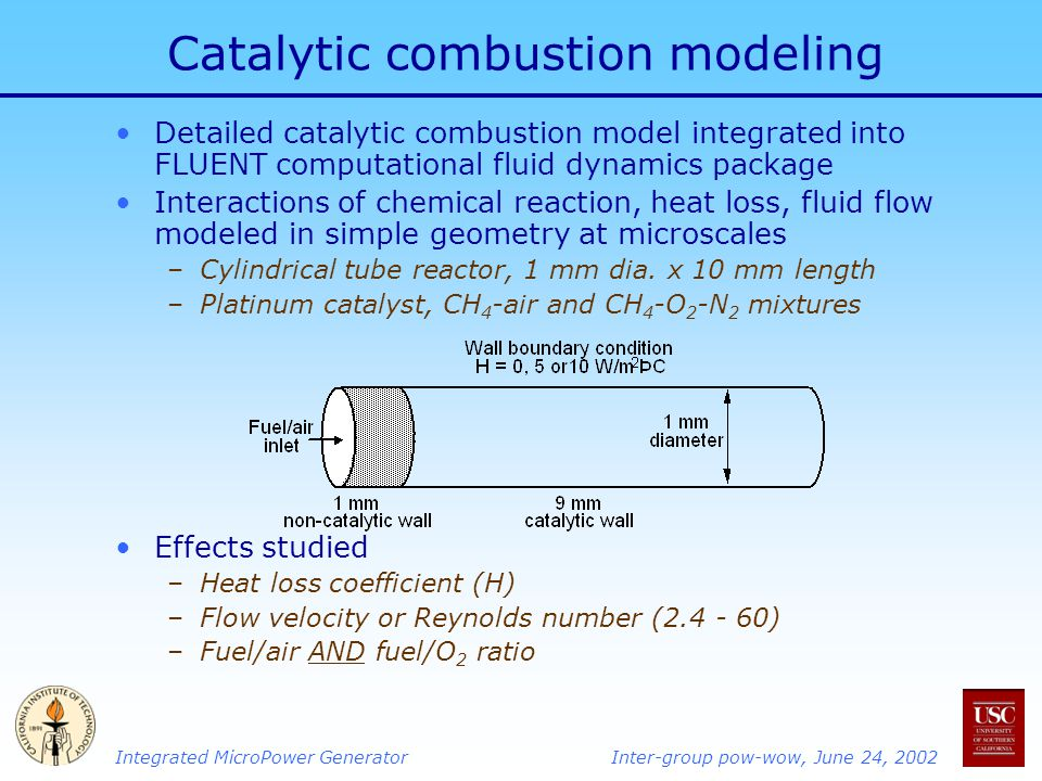 Integrated MicroPower GeneratorInter-group pow-wow, June 24, 2002 Catalytic combustion modeling Detailed catalytic combustion model integrated into FLUENT computational fluid dynamics package Interactions of chemical reaction, heat loss, fluid flow modeled in simple geometry at microscales –Cylindrical tube reactor, 1 mm dia.