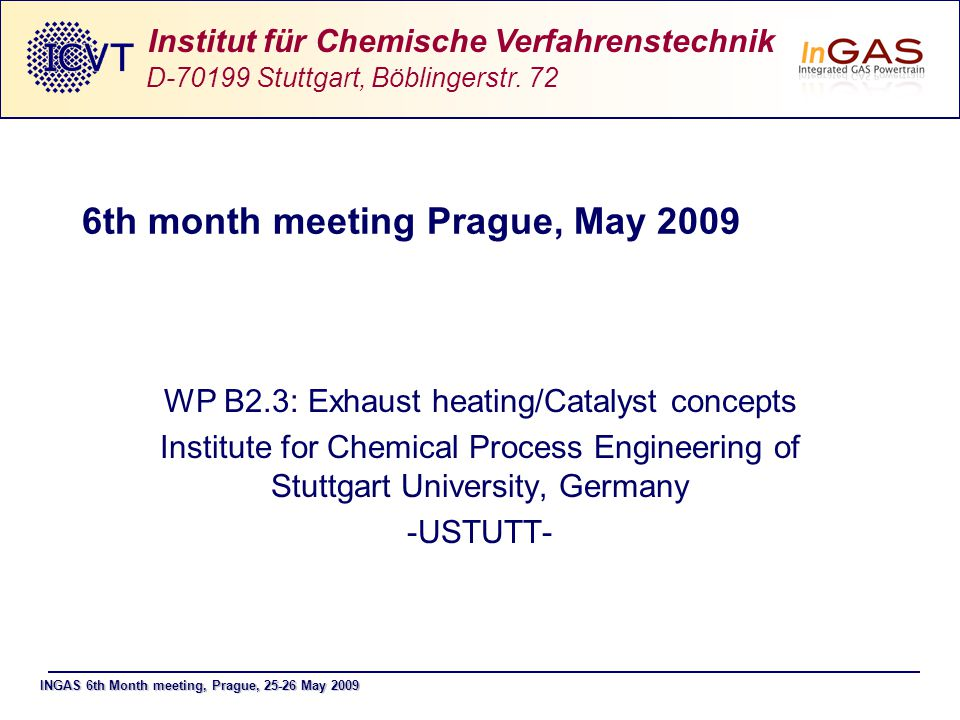 INGAS 6th Month meeting, Prague, 25-26 May 2009 Institut für Chemische Verfahrenstechnik D-70199 Stuttgart, Böblingerstr. 72 6th month meeting Prague,