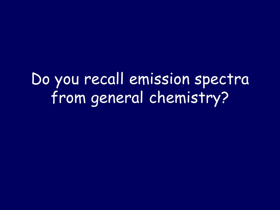 Do you recall emission spectra from general chemistry