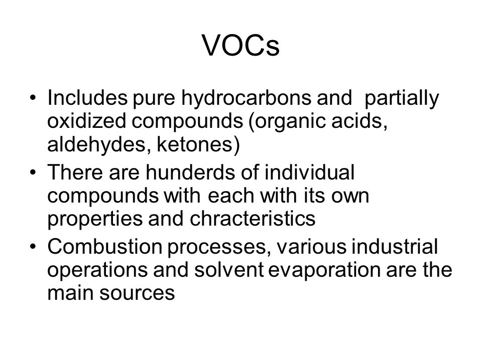 Predicting Overall Kinetics The destruction of VOC occur quickly relative to CO destruction The kinetics of CO destruction have been studied by many researchers Howard published the following expression for CO oxidation (valid for the range of 840-2360 K) Destruction rate of CO = 1.3(10) 14 e -30,000/RT {O 2 } 1/2 {H 2 O} 1/2 {CO} Where { }indicates concentration in mol/cm 3 This equation can be combined with the VOC kinetic.