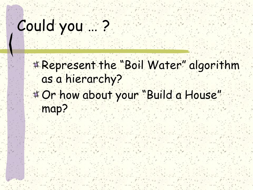 "Could you … ? Represent the ""Boil Water"" algorithm as a hierarchy? Or how about your ""Build a House"" map?"