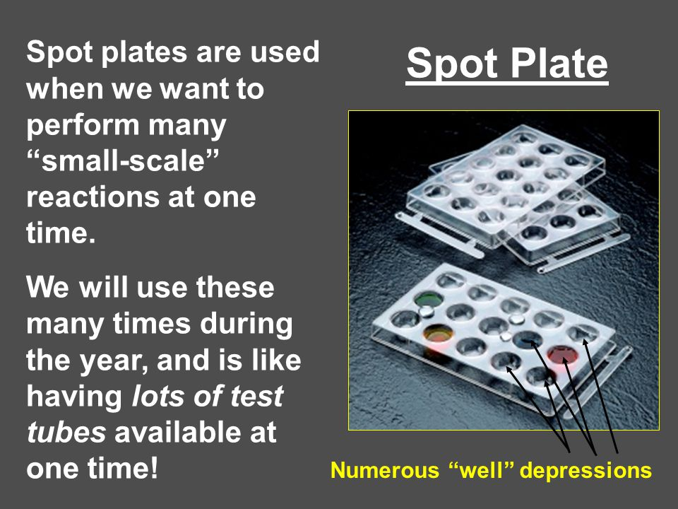 """Spot Plate Spot plates are used when we want to perform many """"small-scale"""" reactions at one time. We will use these many times during the year, and is"""