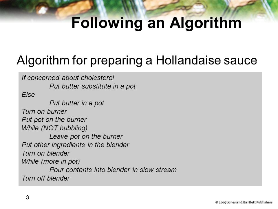 3 Following an Algorithm Algorithm for preparing a Hollandaise sauce If concerned about cholesterol Put butter substitute in a pot Else Put butter in a pot Turn on burner Put pot on the burner While (NOT bubbling) Leave pot on the burner Put other ingredients in the blender Turn on blender While (more in pot) Pour contents into blender in slow stream Turn off blender