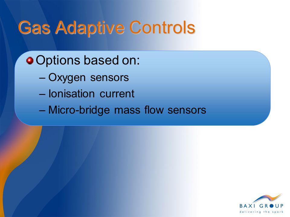 Gas Adaptive Controls Options based on: –Oxygen sensors –Ionisation current –Micro-bridge mass flow sensors