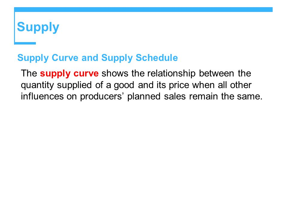 Supply Supply Curve and Supply Schedule The supply curve shows the relationship between the quantity supplied of a good and its price when all other influences on producers' planned sales remain the same.
