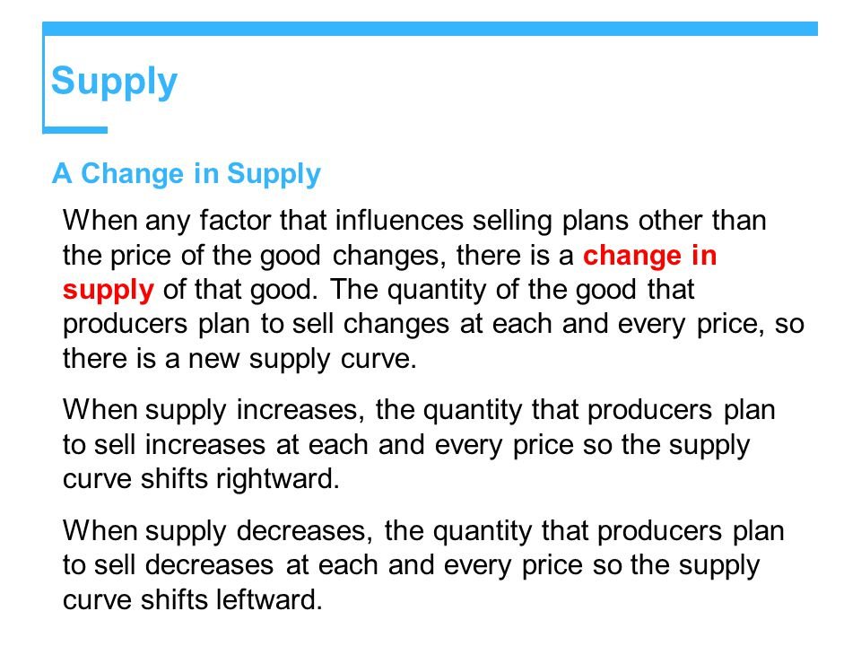 Supply A Change in Supply When any factor that influences selling plans other than the price of the good changes, there is a change in supply of that good.