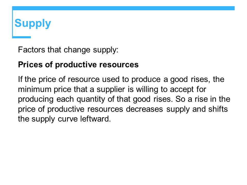 Supply Factors that change supply: Prices of productive resources If the price of resource used to produce a good rises, the minimum price that a supplier is willing to accept for producing each quantity of that good rises.