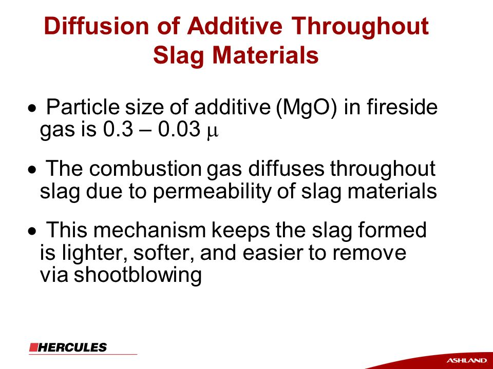 Diffusion of Additive Throughout Slag Materials  Particle size of additive (MgO) in fireside gas is 0.3 – 0.03   The combustion gas diffuses throughout slag due to permeability of slag materials  This mechanism keeps the slag formed is lighter, softer, and easier to remove via shootblowing