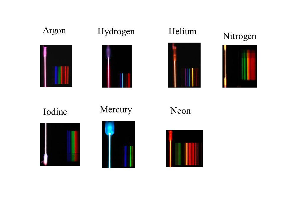 Argon HydrogenHelium Iodine Mercury Neon Nitrogen
