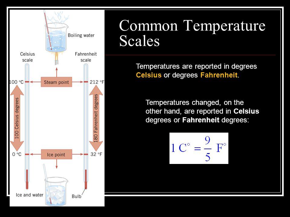 Common Temperature Scales Temperatures are reported in degrees Celsius or degrees Fahrenheit. Temperatures changed, on the other hand, are reported in