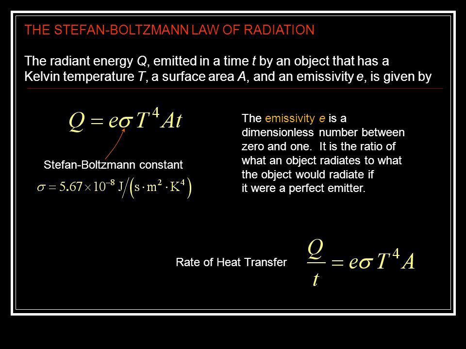 THE STEFAN-BOLTZMANN LAW OF RADIATION The radiant energy Q, emitted in a time t by an object that has a Kelvin temperature T, a surface area A, and an