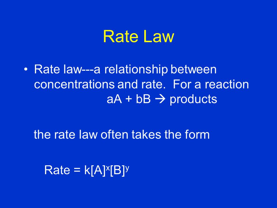 Rate Law Rate law---a relationship between concentrations and rate.