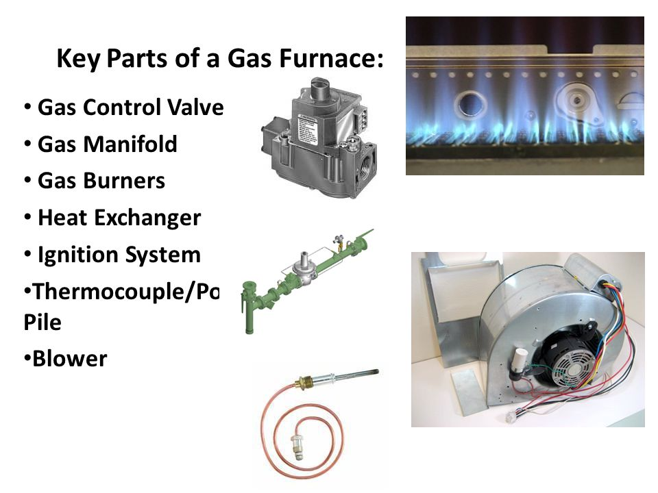Key Parts of a Gas Furnace: Gas Control Valve Gas Manifold Gas Burners Heat Exchanger Ignition System Thermocouple/Power Pile Blower