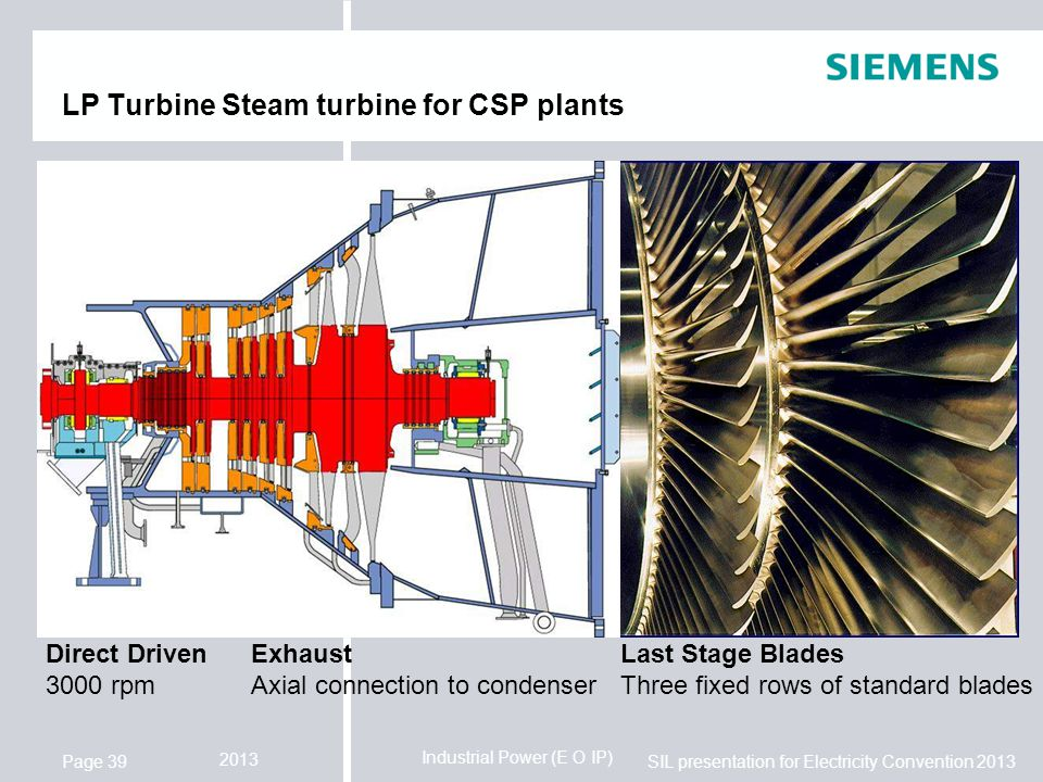 Industrial Power (E O IP) SIL presentation for Electricity Convention 2013 2013 Page 39 LP Turbine Steam turbine for CSP plants Direct Driven 3000 rpm Exhaust Axial connection to condenser Last Stage Blades Three fixed rows of standard blades