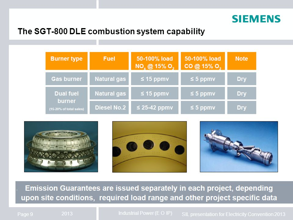 Industrial Power (E O IP) SIL presentation for Electricity Convention 2013 2013 Page 9 The SGT-800 DLE combustion system capability