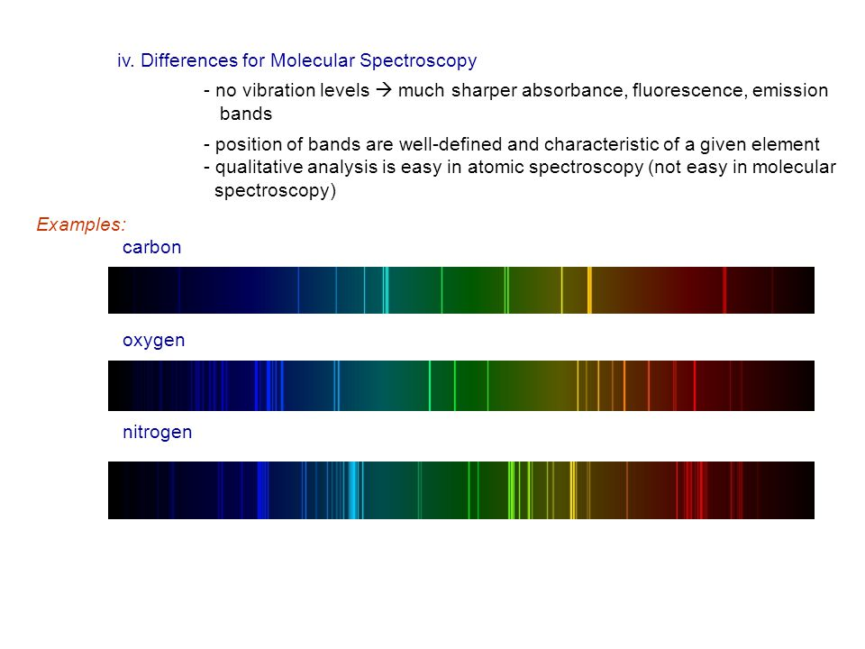 iv. Differences for Molecular Spectroscopy - no vibration levels  much sharper absorbance, fluorescence, emission bands - position of bands are well-