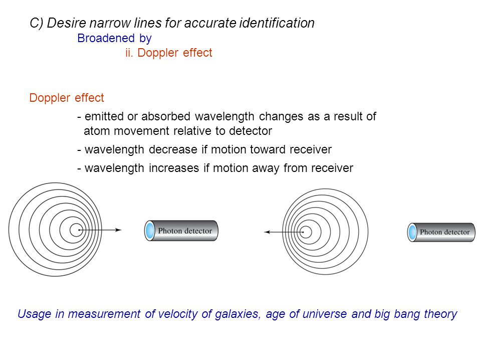 Doppler effect - emitted or absorbed wavelength changes as a result of atom movement relative to detector - wavelength decrease if motion toward recei