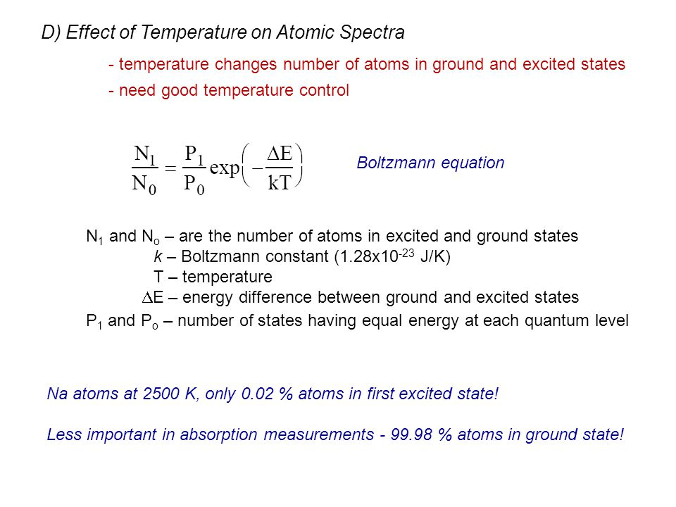 - temperature changes number of atoms in ground and excited states - need good temperature control Boltzmann equation N 1 and N o – are the number of