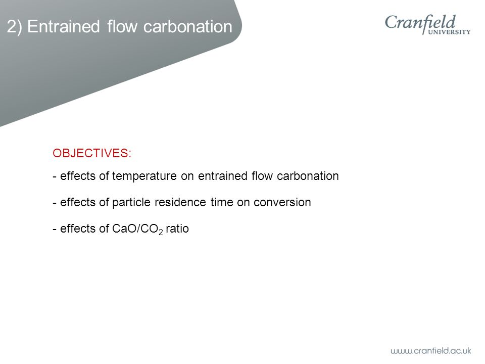 2) Entrained flow carbonation - effects of temperature on entrained flow carbonation - effects of particle residence time on conversion - effects of CaO/CO 2 ratio OBJECTIVES: