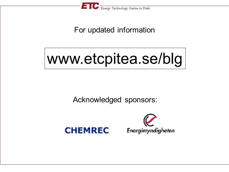 Energy Technology Centre in Piteå For updated information www.etcpitea.se/blg Acknowledged sponsors: