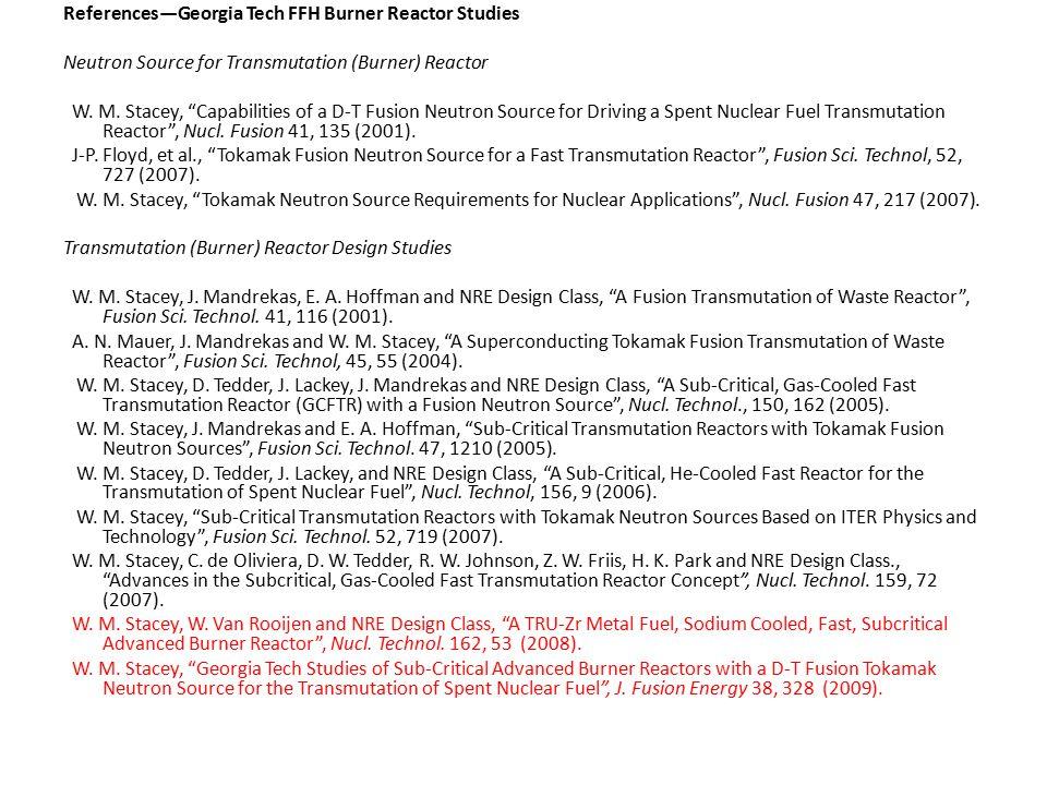 References—Georgia Tech FFH Burner Reactor Studies Neutron Source for Transmutation (Burner) Reactor W.