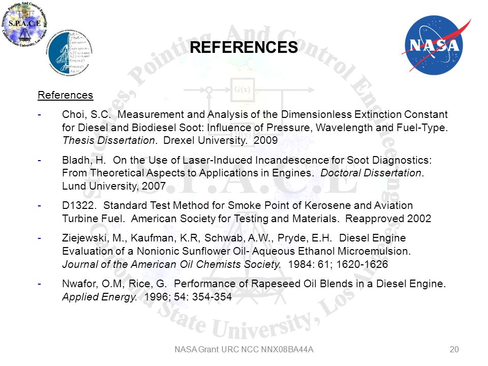 REFERENCES NASA Grant URC NCC NNX08BA44A20 References -Choi, S.C.