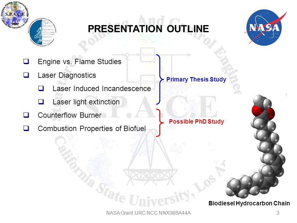 4 ENGINES VS FLAME STUDIES 4NASA Grant URC NCC NNX08BA44A