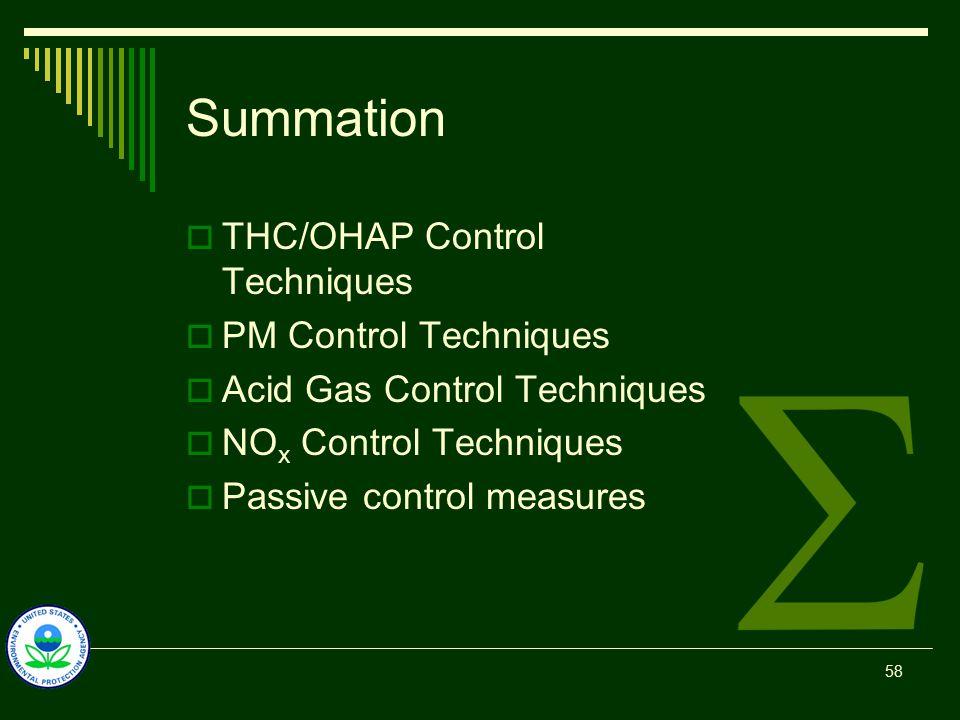 Summation  THC/OHAP Control Techniques  PM Control Techniques  Acid Gas Control Techniques  NO x Control Techniques  Passive control measures 58