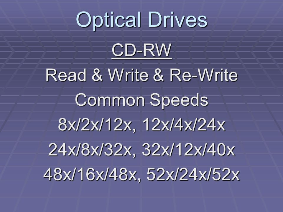 Optical Drives CD-RW Read & Write & Re-Write Common Speeds 8x/2x/12x, 12x/4x/24x 24x/8x/32x, 32x/12x/40x 48x/16x/48x, 52x/24x/52x