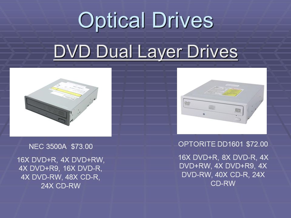 Optical Drives DVD Dual Layer Drives NEC 3500A $73.00 16X DVD+R, 4X DVD+RW, 4X DVD+R9, 16X DVD-R, 4X DVD-RW, 48X CD-R, 24X CD-RW OPTORITE DD1601 $72.00 16X DVD+R, 8X DVD-R, 4X DVD+RW, 4X DVD+R9, 4X DVD-RW, 40X CD-R, 24X CD-RW