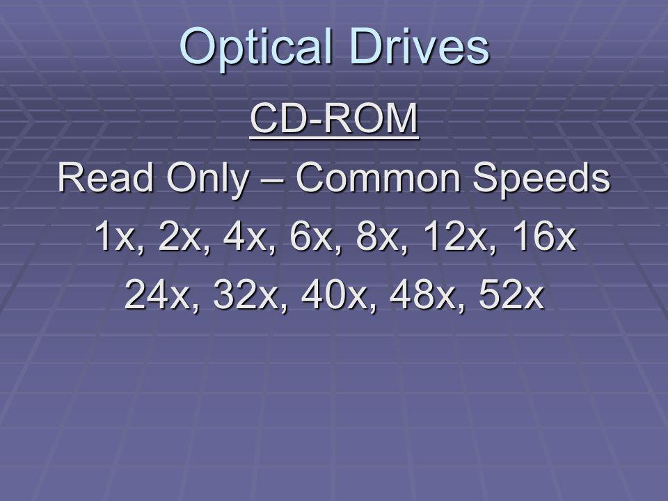 Optical Drives Read Speeds 1x = 150 Kb/Sec (Audio Standard) 24x = 150 x 24 or 3600 Kb/Sec 52x = 150 x 52 or 7800 Kb/Sec