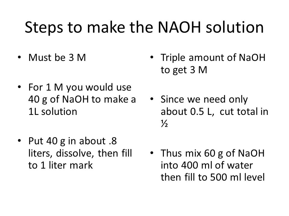 Steps to make the NAOH solution Must be 3 M For 1 M you would use 40 g of NaOH to make a 1L solution Put 40 g in about.8 liters, dissolve, then fill t