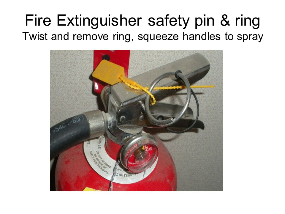 Fire Extinguisher safety pin & ring Twist and remove ring, squeeze handles to spray