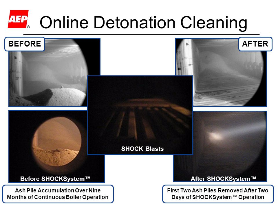 13 Online Detonation Cleaning Ash Pile Accumulation Over Nine Months of Continuous Boiler Operation First Two Ash Piles Removed After Two Days of SHOC