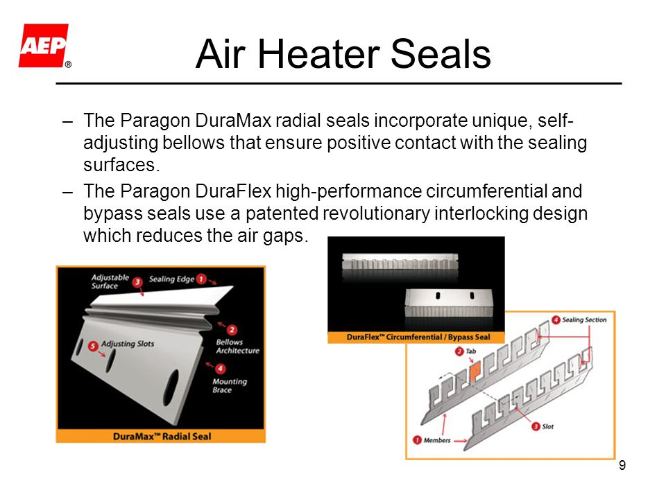 9 Air Heater Seals –The Paragon DuraMax radial seals incorporate unique, self- adjusting bellows that ensure positive contact with the sealing surface