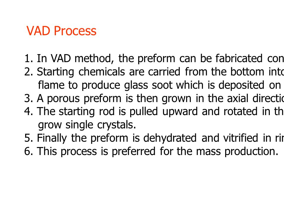 1. In VAD method, the preform can be fabricated continuously. 2. Starting chemicals are carried from the bottom into oxygen-hydrogen burner flame to p