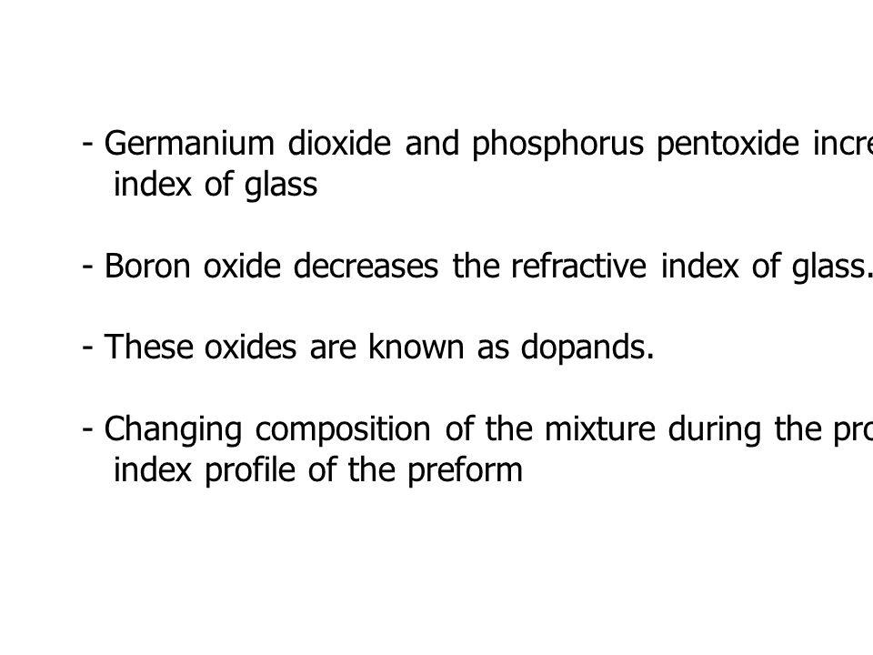- Germanium dioxide and phosphorus pentoxide increase the refractive index of glass - Boron oxide decreases the refractive index of glass.