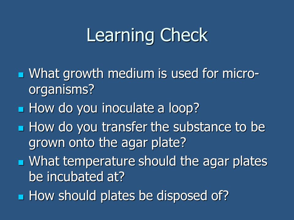 Learning Check What growth medium is used for micro- organisms? What growth medium is used for micro- organisms? How do you inoculate a loop? How do y