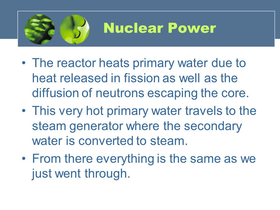 Nuclear Power The reactor heats primary water due to heat released in fission as well as the diffusion of neutrons escaping the core.
