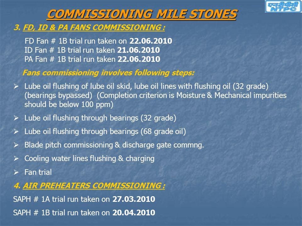 COMMISSIONING MILE STONES 3. FD, ID & PA FANS COMMISSIONING : FD Fan # 1B trial run taken on 22.06.2010 ID Fan # 1B trial run taken 21.06.2010 PA Fan