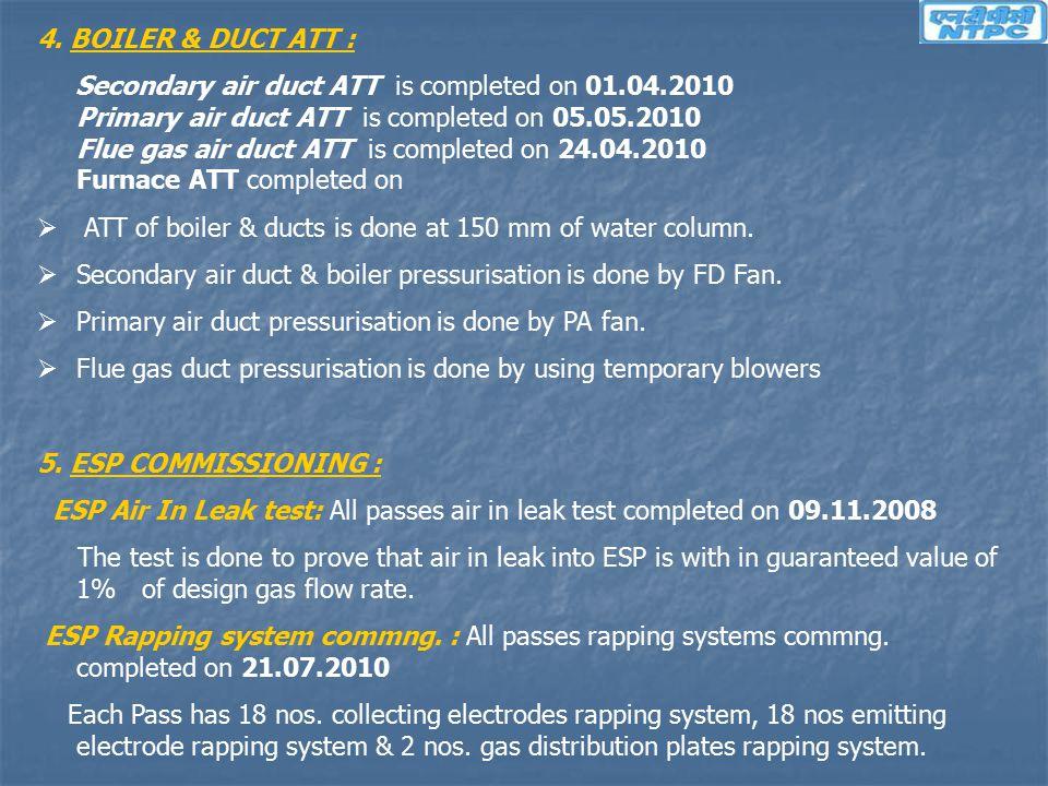 4. BOILER & DUCT ATT : Secondary air duct ATT is completed on 01.04.2010 Primary air duct ATT is completed on 05.05.2010 Flue gas air duct ATT is comp