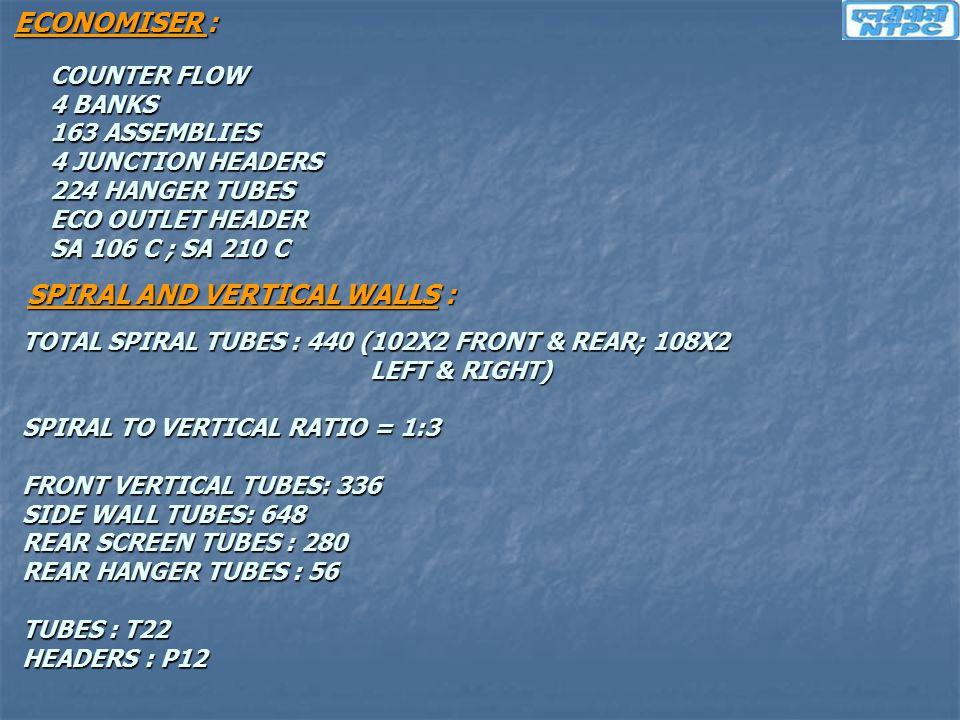 ECONOMISER : COUNTER FLOW 4 BANKS 163 ASSEMBLIES 4 JUNCTION HEADERS 224 HANGER TUBES ECO OUTLET HEADER SA 106 C ; SA 210 C SPIRAL AND VERTICAL WALLS :