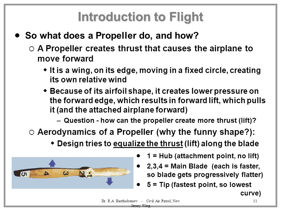 Dr. R.A. Bartholomew - Civil Air Patrol, New Jersey Wing 11 Introduction to Flight  So what does a Propeller do, and how?  A Propeller creates thrus